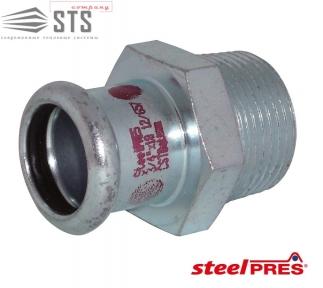 Переходник стальной оцинкованный с наружной резьбой (отопление) STEELPRES® RM
