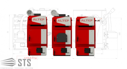Котел на твердом топливе TRIO UNI Plus 50 кВт ALTEP (автоматика TEHC)