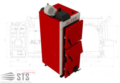 Котел на твердом топливе DUO UNI Plus 33 кВт ALTEP (автоматика ТЕНС)