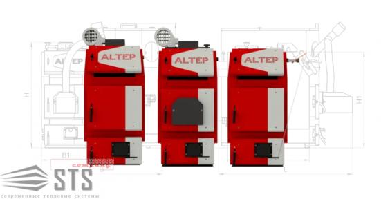 Котел на твердом топливе TRIO UNI Plus 97 кВт ALTEP (боковая чистка)